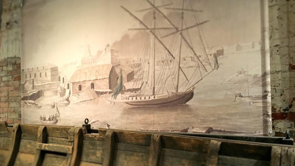 Пушечный шлюп, старинная гравюра